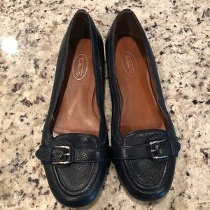 Talbots Size 8 Leather Navy Flats Shoes